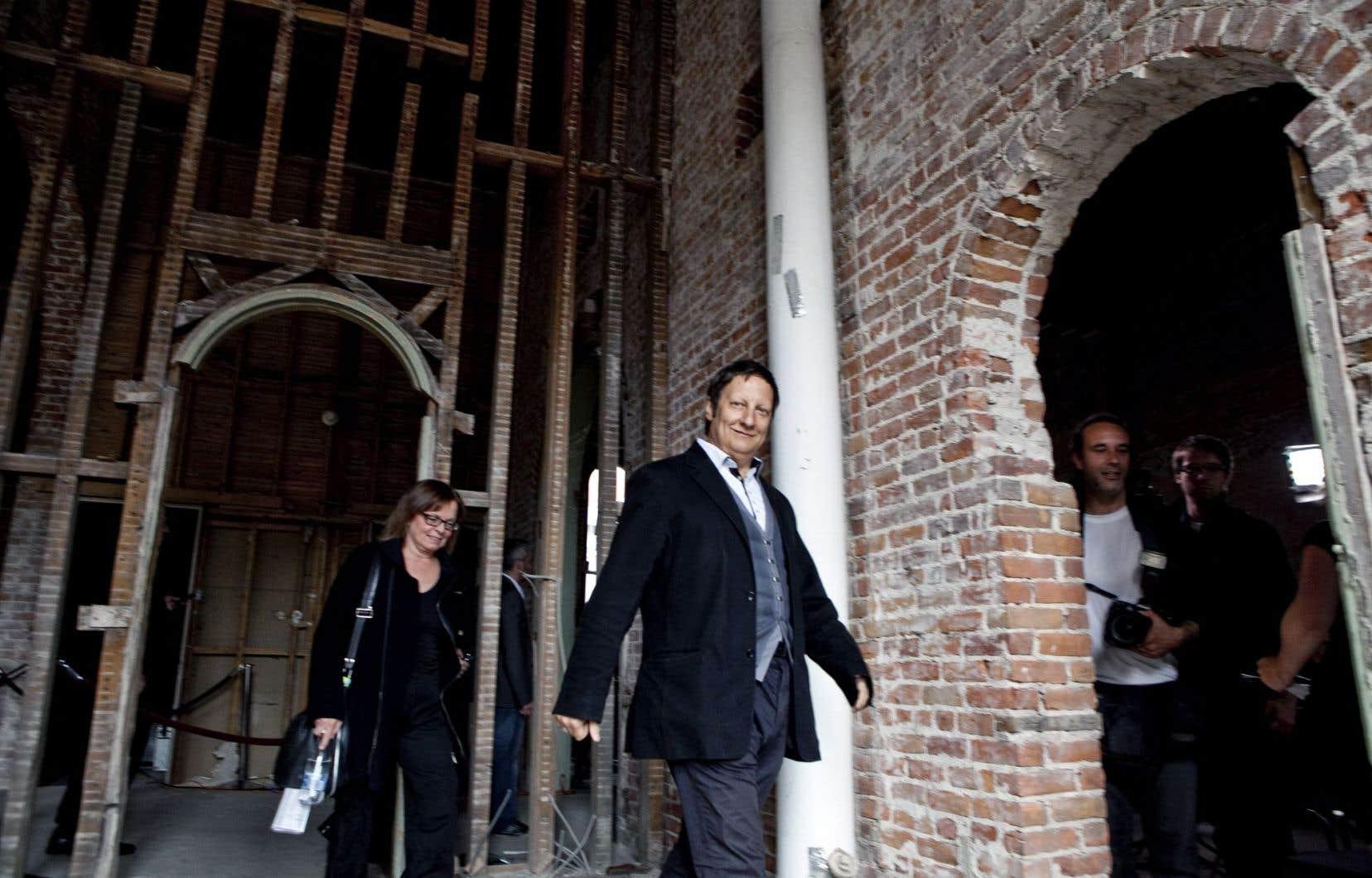 Robert Lepage en 2012, dans les locaux qui finiront par voir l'aboutissement de son projet de la salle Le Diamant