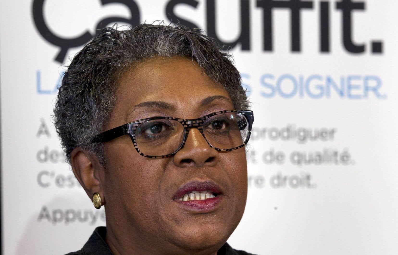 La présidente de la Fédération interprofessionnelle de la santé du Québec, Régine Laurent