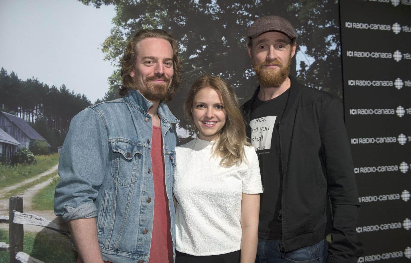 Maxime Le Flaguais (Alexis), Sarah-Jeanne Labrosse (Donalda) et Vincent Leclerc (Séraphin)