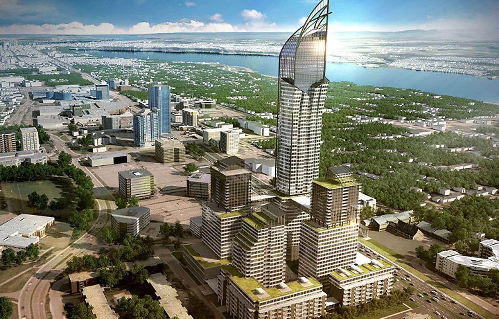 Le Phare aurait une hauteur de 65 étages, alors que le plan particulier d'urbanisme du secteur, datant de 2012, limite plutôt celle-ci à 29 étages.