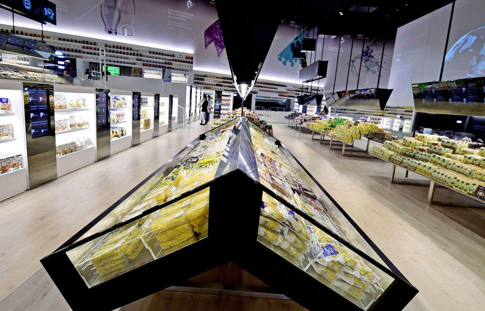 Vue sur le «Future Food District» (#FFF, sur l'alimentation de l'avenir), le supermarché de demain qui s'appuie sur les nouvelles technologies électroniques.