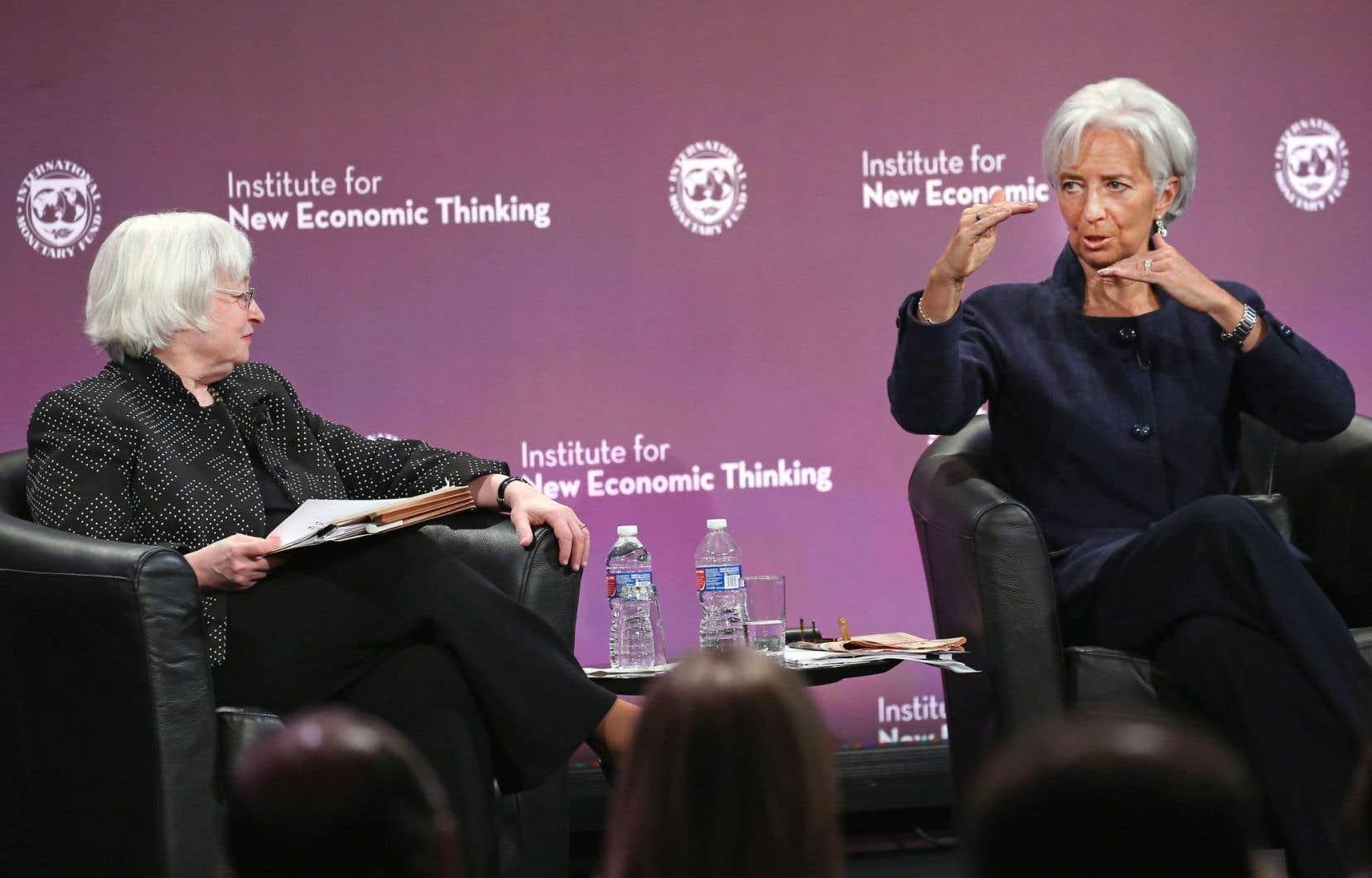 La directrice générale du FMI, Christine Lagarde (à droite), participait mardi à une conférende à Washington en compagnie de la présidente de la Réserve fédérale américaine, Janet Yellen.