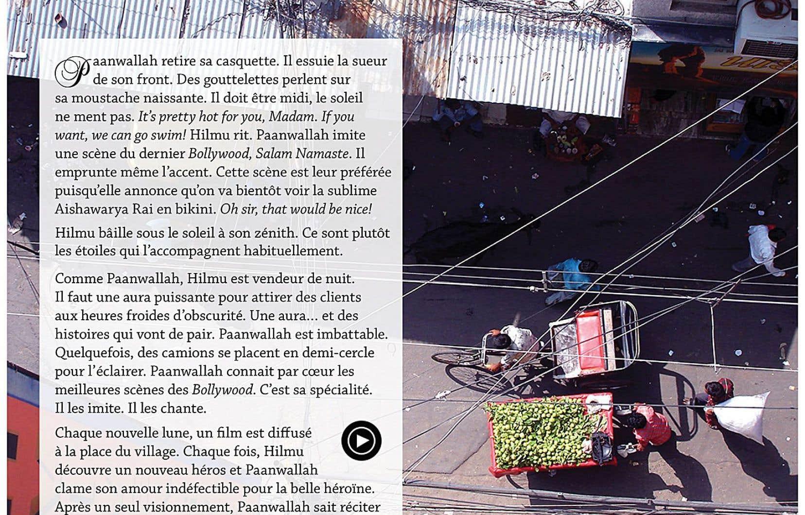 Bienvenue dans Le vendeur de goyaves, premier roman immersif du globe-trotter Ugo Monticone. Ça veut dire quoi? Ça veut dire que lorsque notre protagoniste traverse la cohue du marché public d'Ahmedabad, une vidéo tournée par l'auteur au marché public d'Ahmedabad peut être visionnée.
