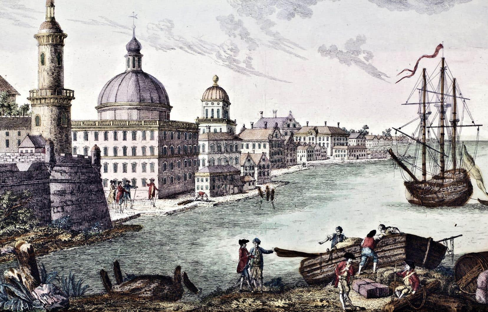 «Vue de la basse ville à Québec vers le fleuve St. Laurent», iconographiedocumentaire, 50x65 cm, 1760