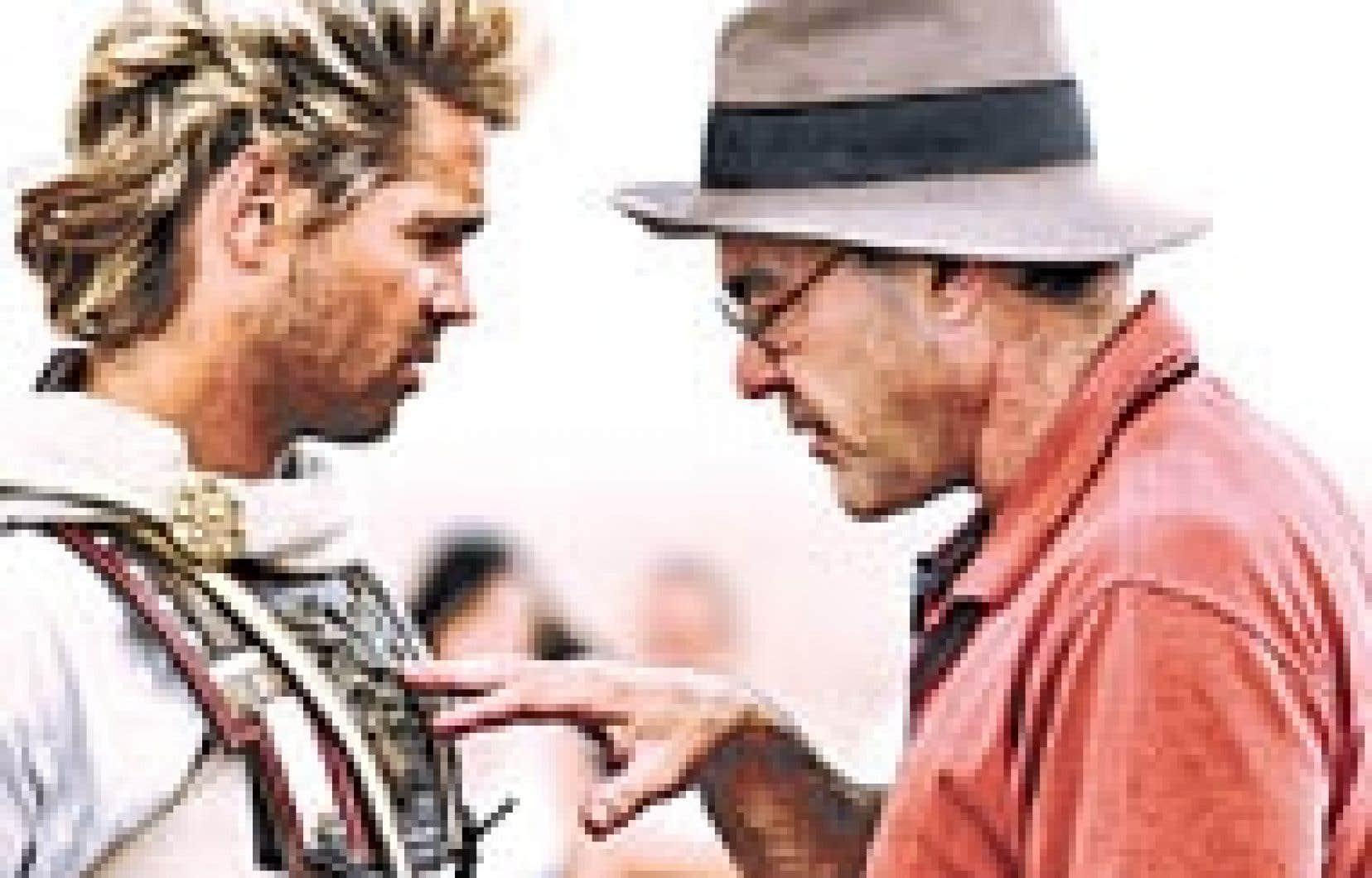 Colin Farrel et Oliver Stone lors du tournage d'Alexandre, qui s'est en grande partie déroulé au Maroc. — Source Warner Bros