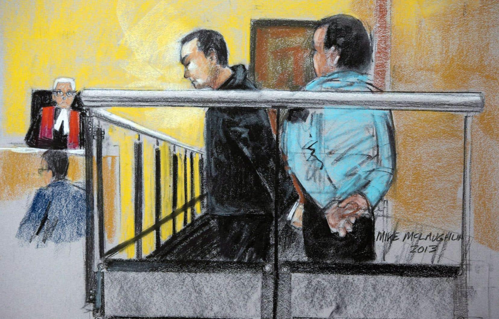 Un croquis d'audience judiciaire de Guy Turcotte en novembre 2013