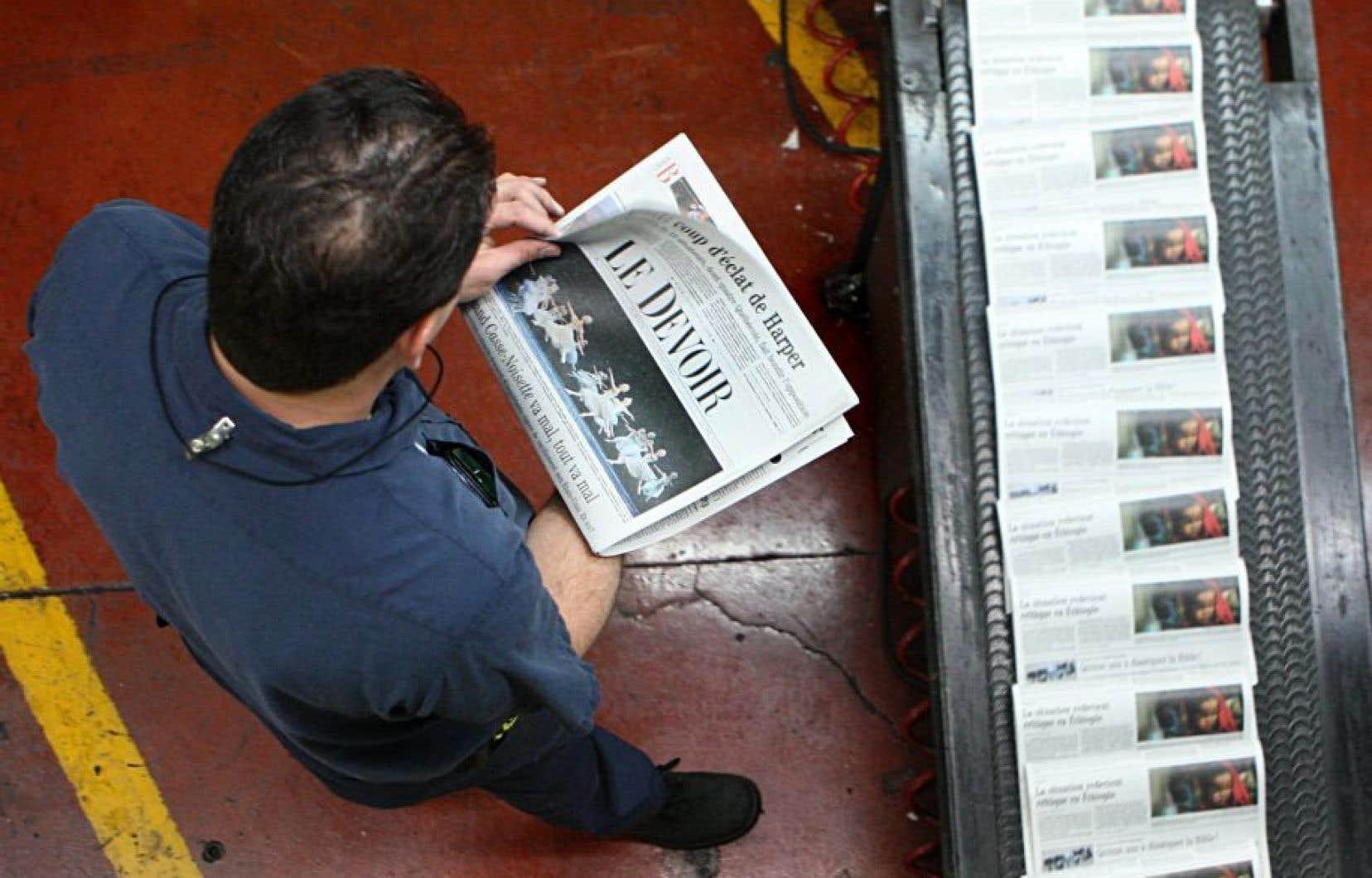 <em>Le Devoir</em> est imprimé par Imprimerie Mirabel depuis 2009. Le quotidien était autrefois imprimé à Saint-Jean-sur-Richelieu (notre photo).