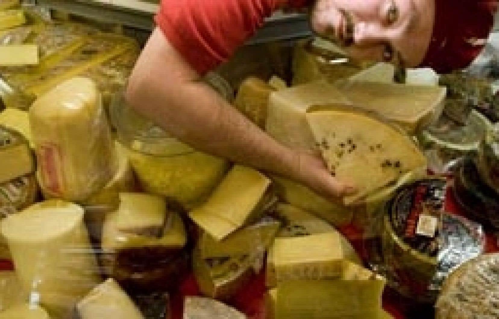 Un employé de la fromagerie Hamel, à Montréal, penché au-dessus d'un étal de fromages importés. Québec a retiré de sa liste des priorités l'inspection des fromages importés en vente chez les détaillants.