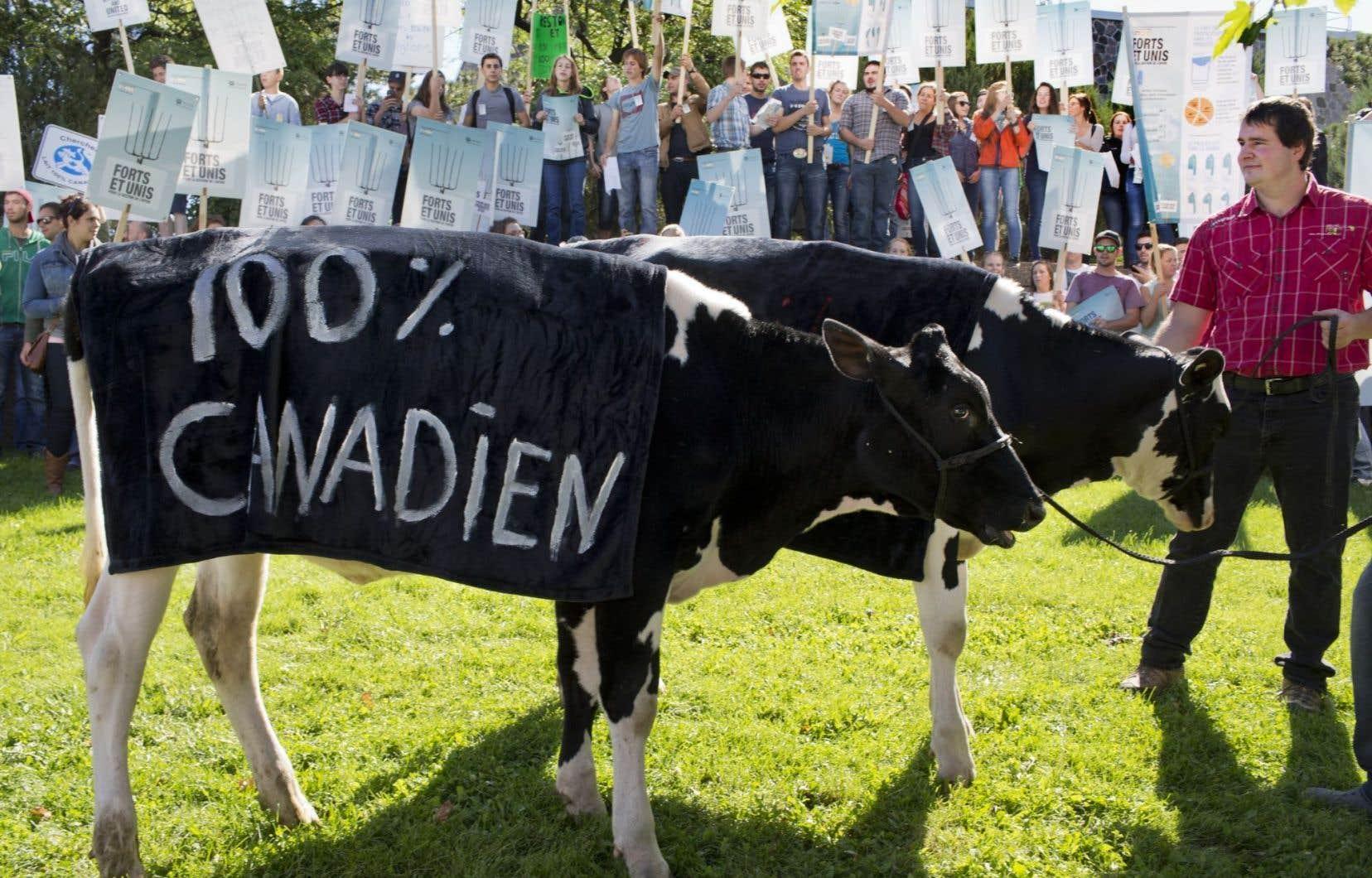 Manifestation récente à Montréal en faveur de la protection de la production agricole et de la gestion de l'offre.