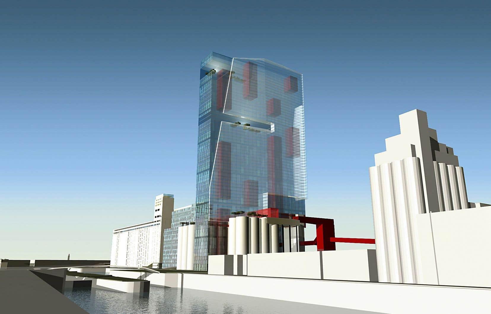 Dans le Vieux-Port de Montréal, le projet d'un vaste complexe comprenant une tour résidentielle et un musée aux côtés des silos n'a jamais vu le jour.