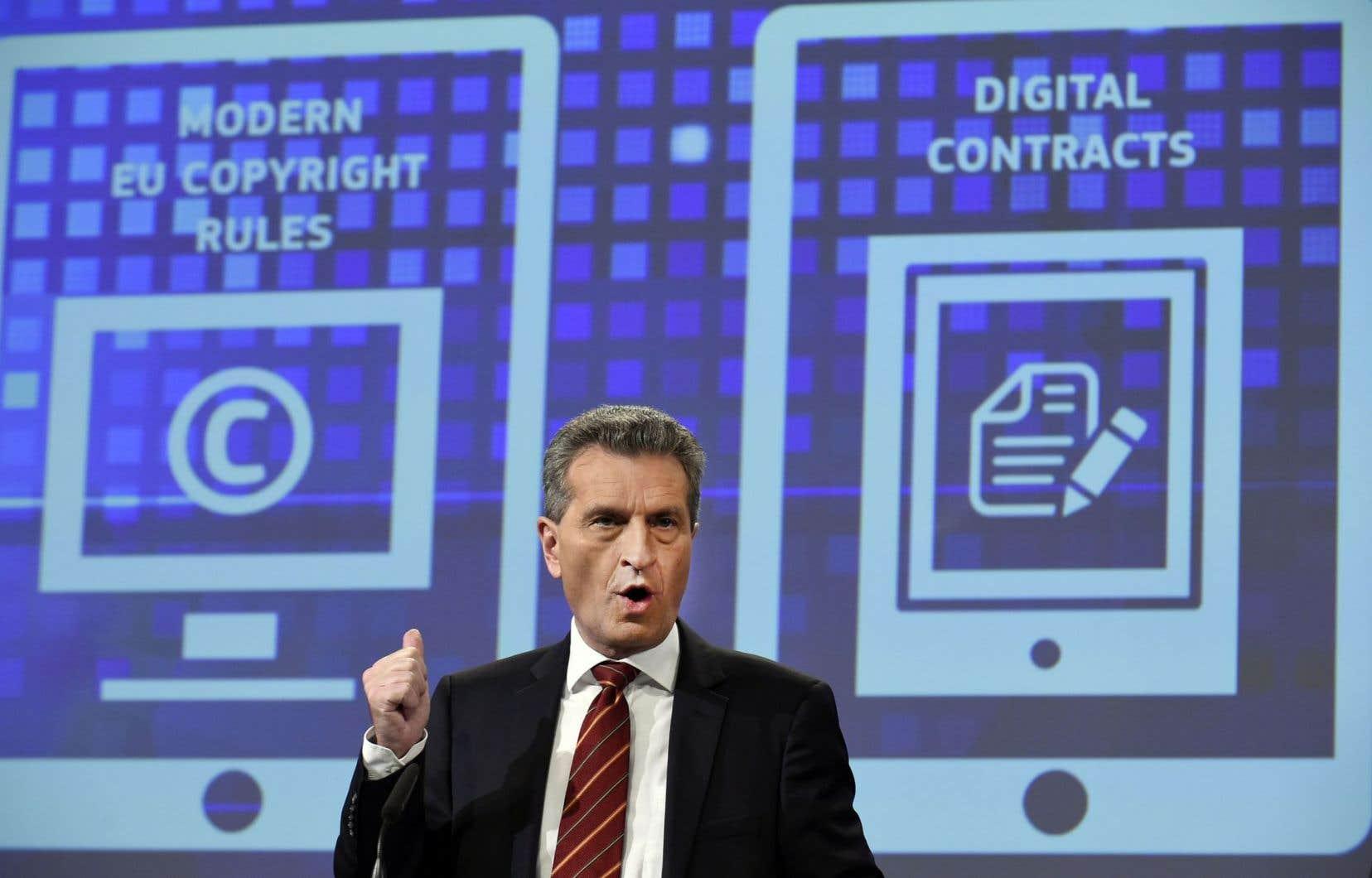 Le commissaire européen pour l'Économie numérique, Günther Oettinger