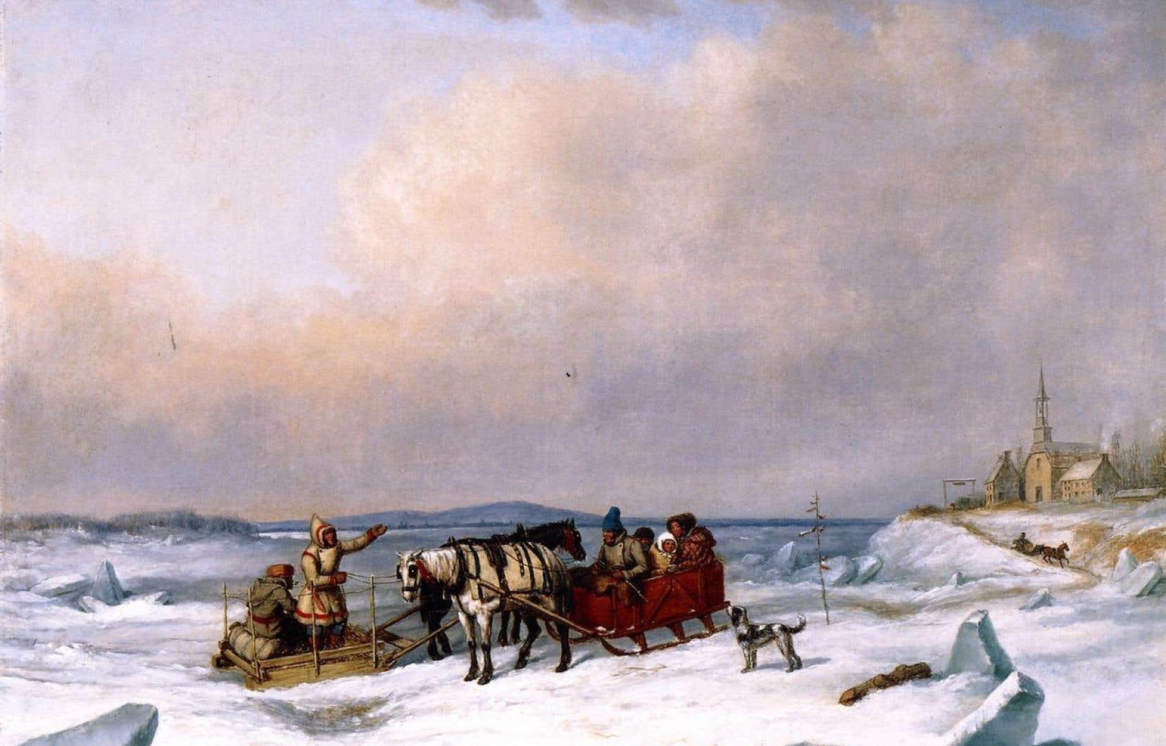 «Le pont de glace à Longue-Pointe»,Cornelius David Krieghoff,1847
