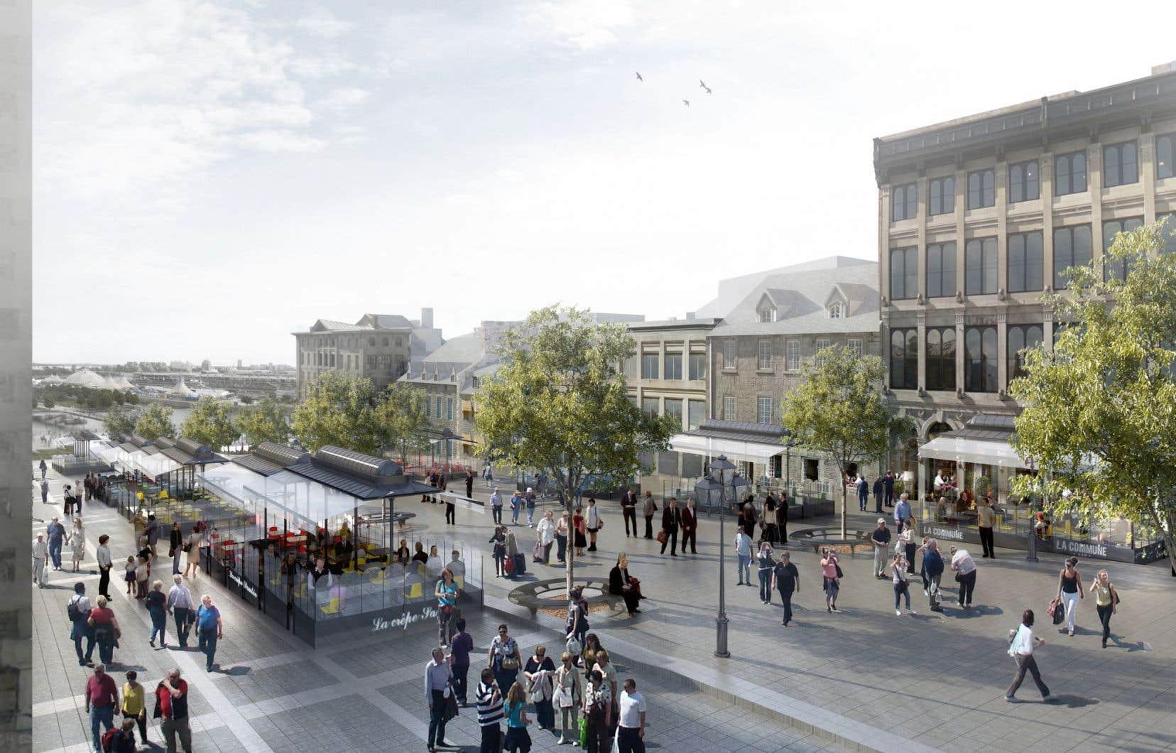 Une maquette du projet. Montréal souhaite mettre en valeur le caractère historique de la place et favoriser l'animation de la rue, été comme hiver.
