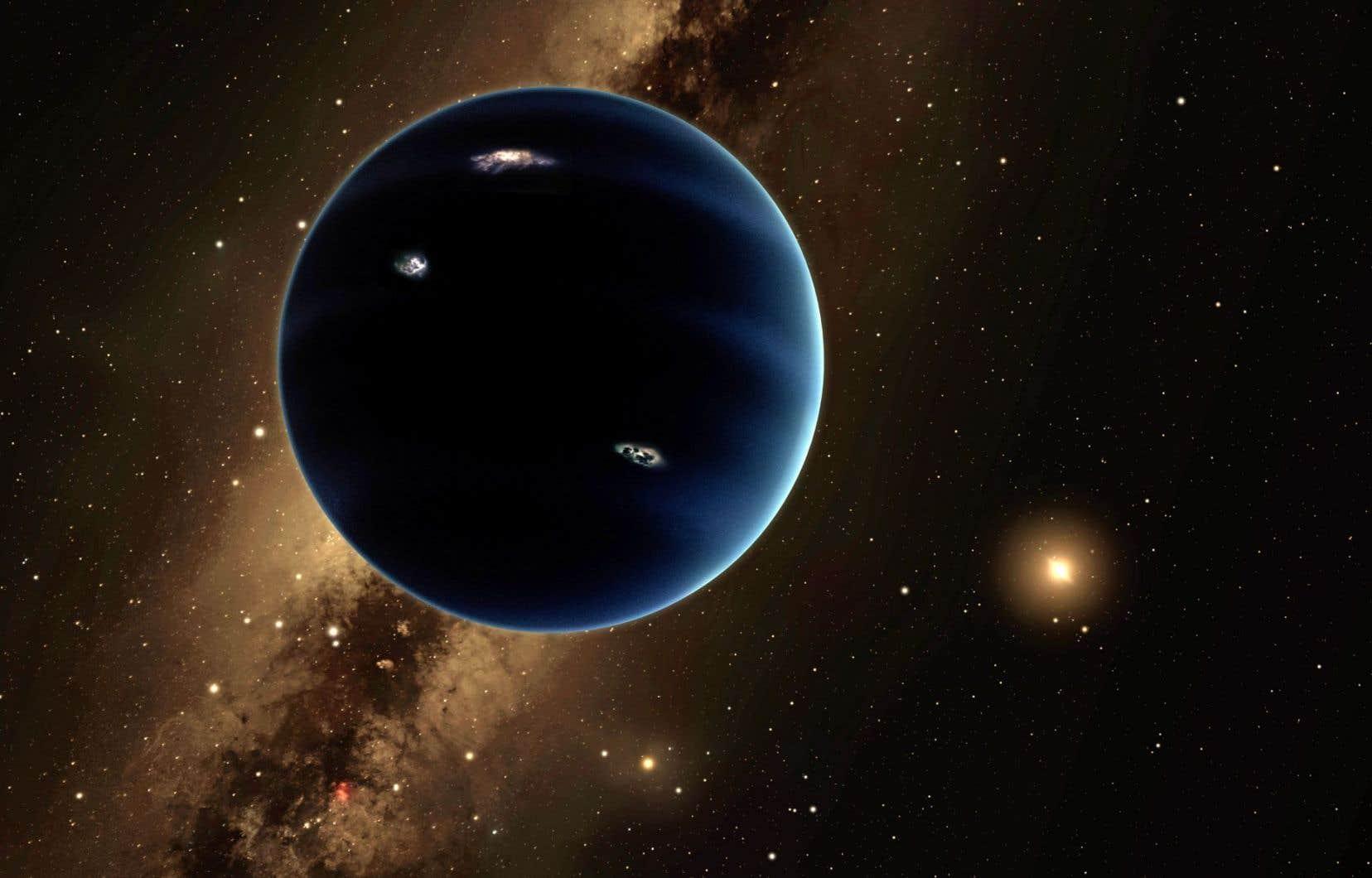 Cette illustration artistique montre ce qui serait la 9eplanète du système solaire — une planète gazeuse, similaire à Uranus et Neptune.