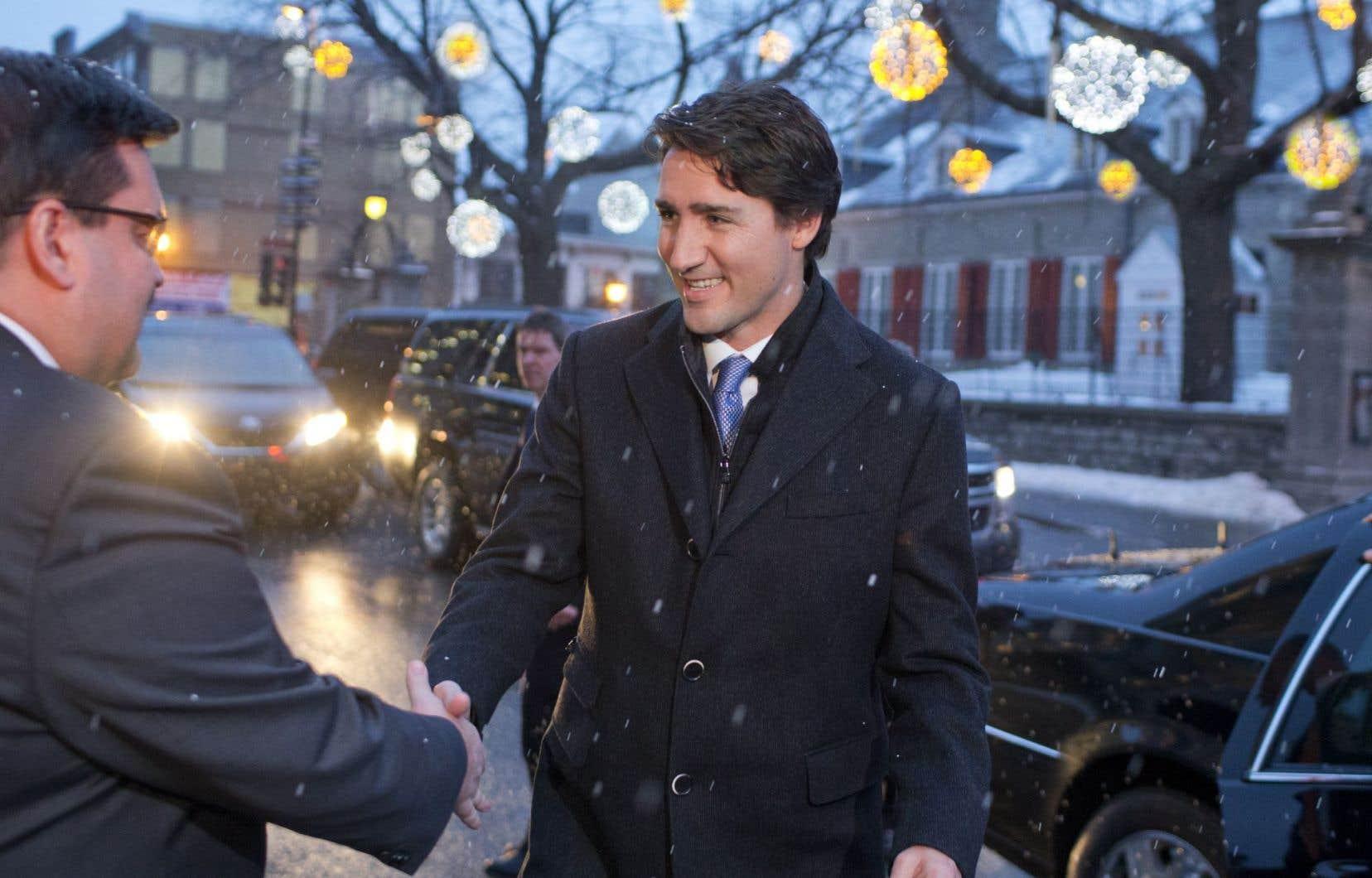 Justin Trudeau et Denis Coderre ont rencontré la presse ensemble, mardi matin à l'hôtel de ville de Montréal, après leur tête-à-tête, qui a duré environ 40 minutes.