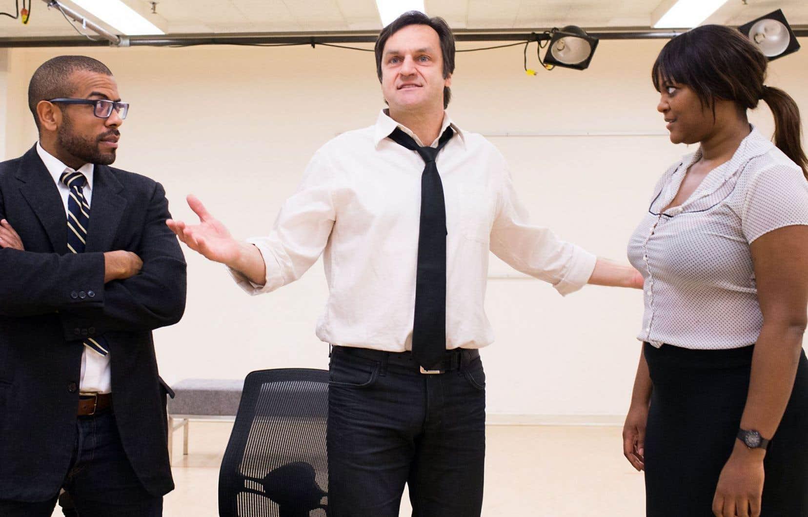 Frédéric Pierre, Benoît Gouin et Myriam De Verger en répétition pour la pièce «Race»