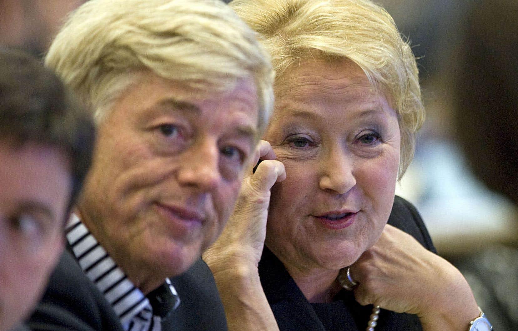 Claude Blanchet et Pauline Marois lors d'un congrès du Parti québécois, en 2011