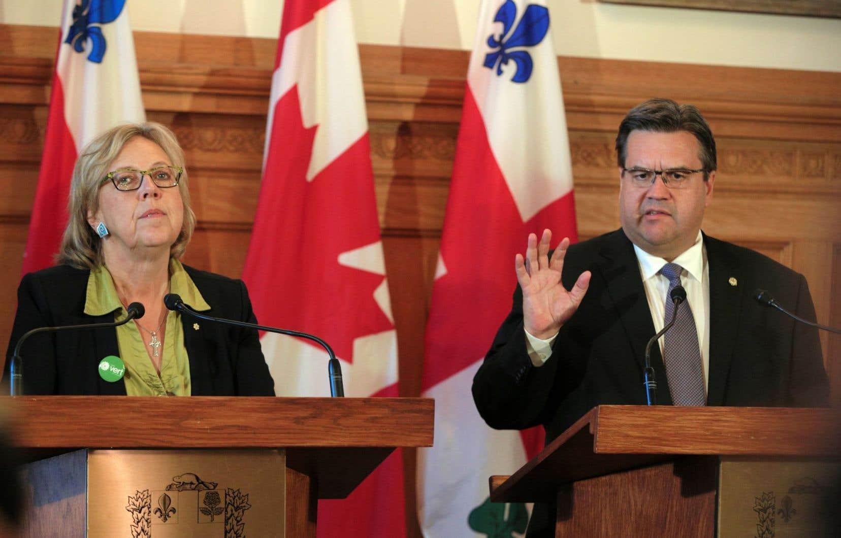 Elisabeth May en octobre dernier lors d'une rencontre avec ler maire de Montréal, Denis Coderre