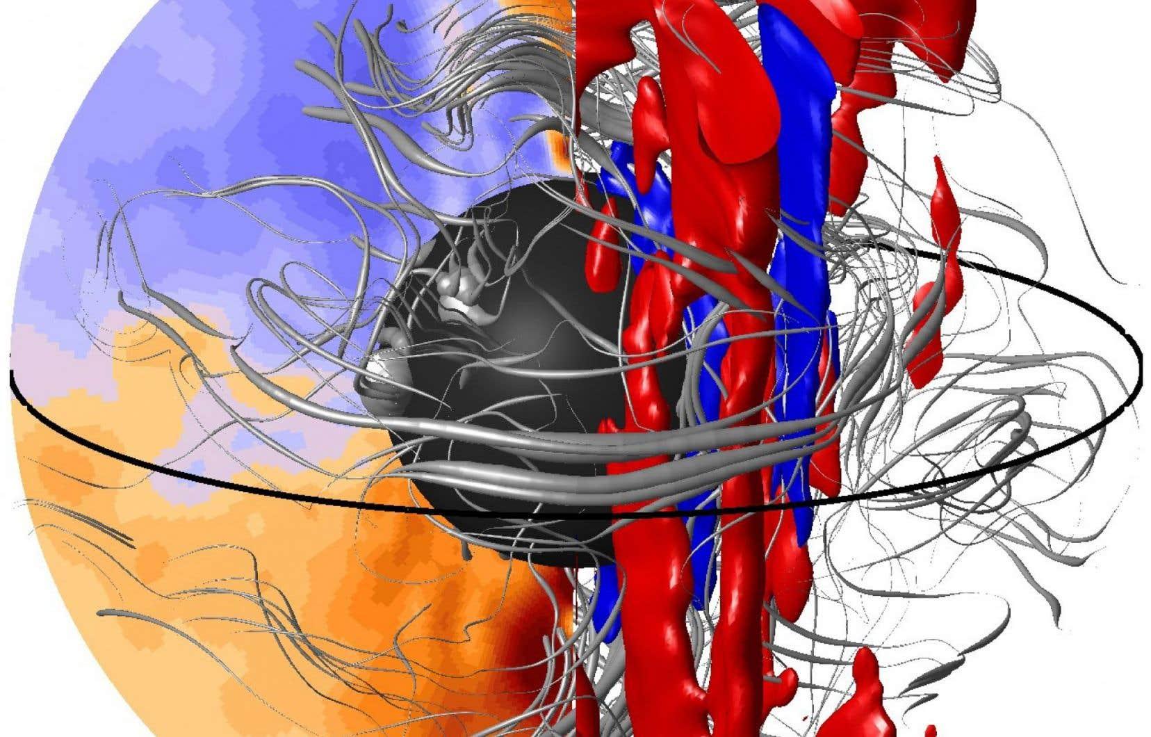 Cette visualisation des mouvements tourbillonnaires à l'intérieur du noyau de la Terre a été estimée à partir d'un modèle informatique de l'effet dynamo, le mécanisme par lequel les mouvements de convection du fer liquide dans le noyau produisent le champ magnétique terrestre.