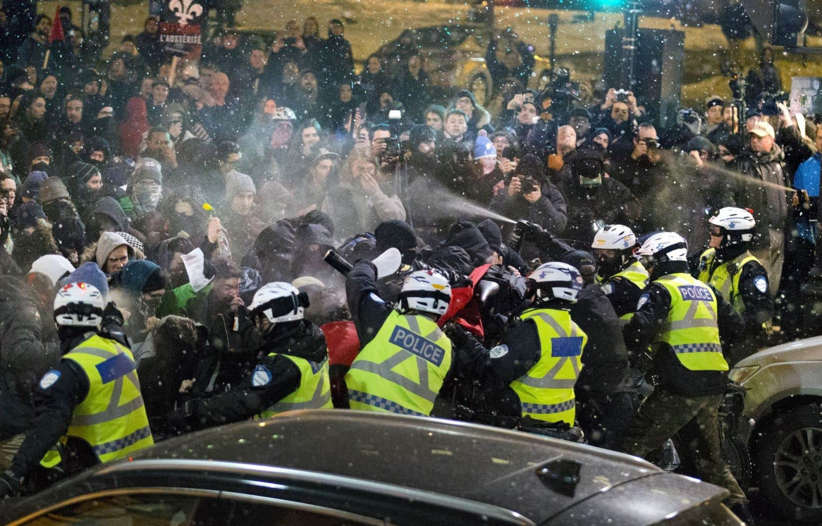 Une manifestation organisée à la fin du mois de mars2015 a donné lieu à un affrontement avec les policiers du SPVM.