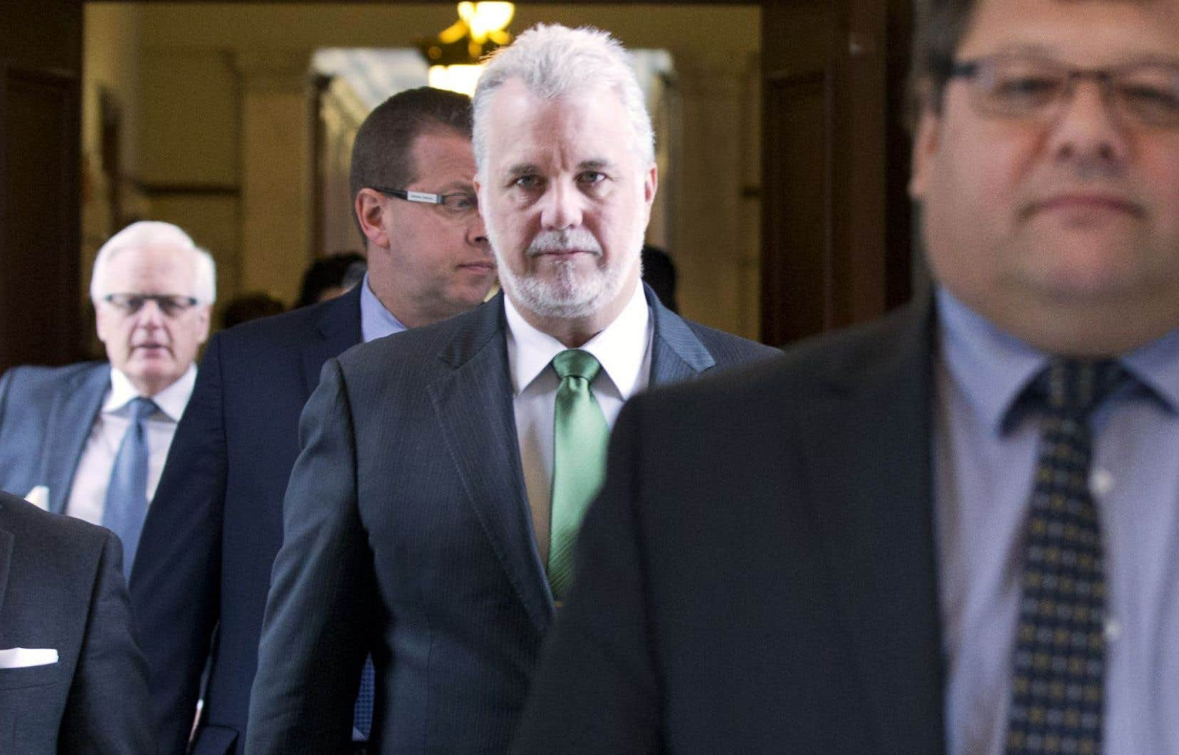 Philippe Couillard à son arrivée au dévoilement du budget de son gouvernement.