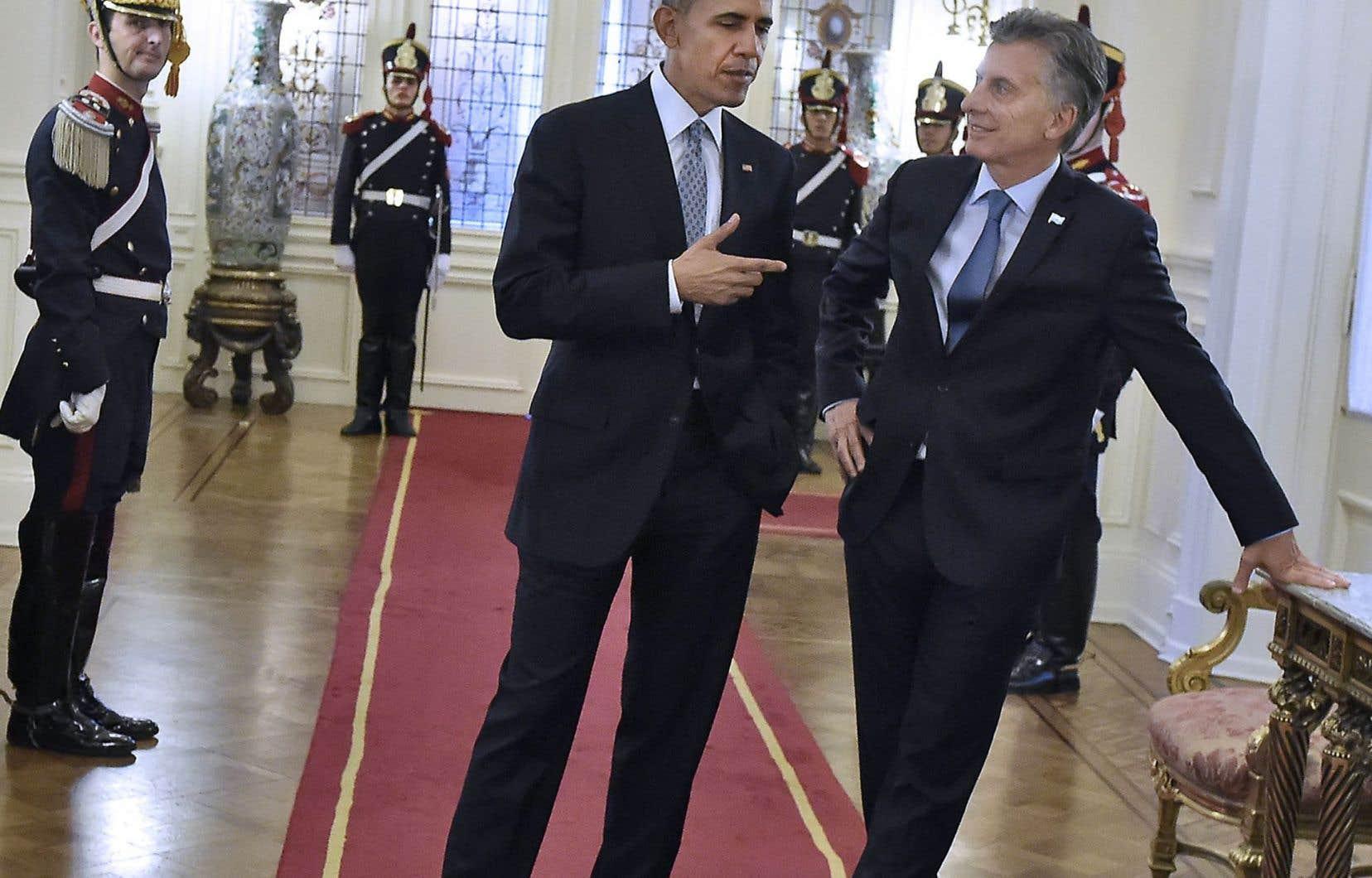 Barack Obama en compagnie du nouveau président argentin, Mauricio Macri, au palais présidentiel