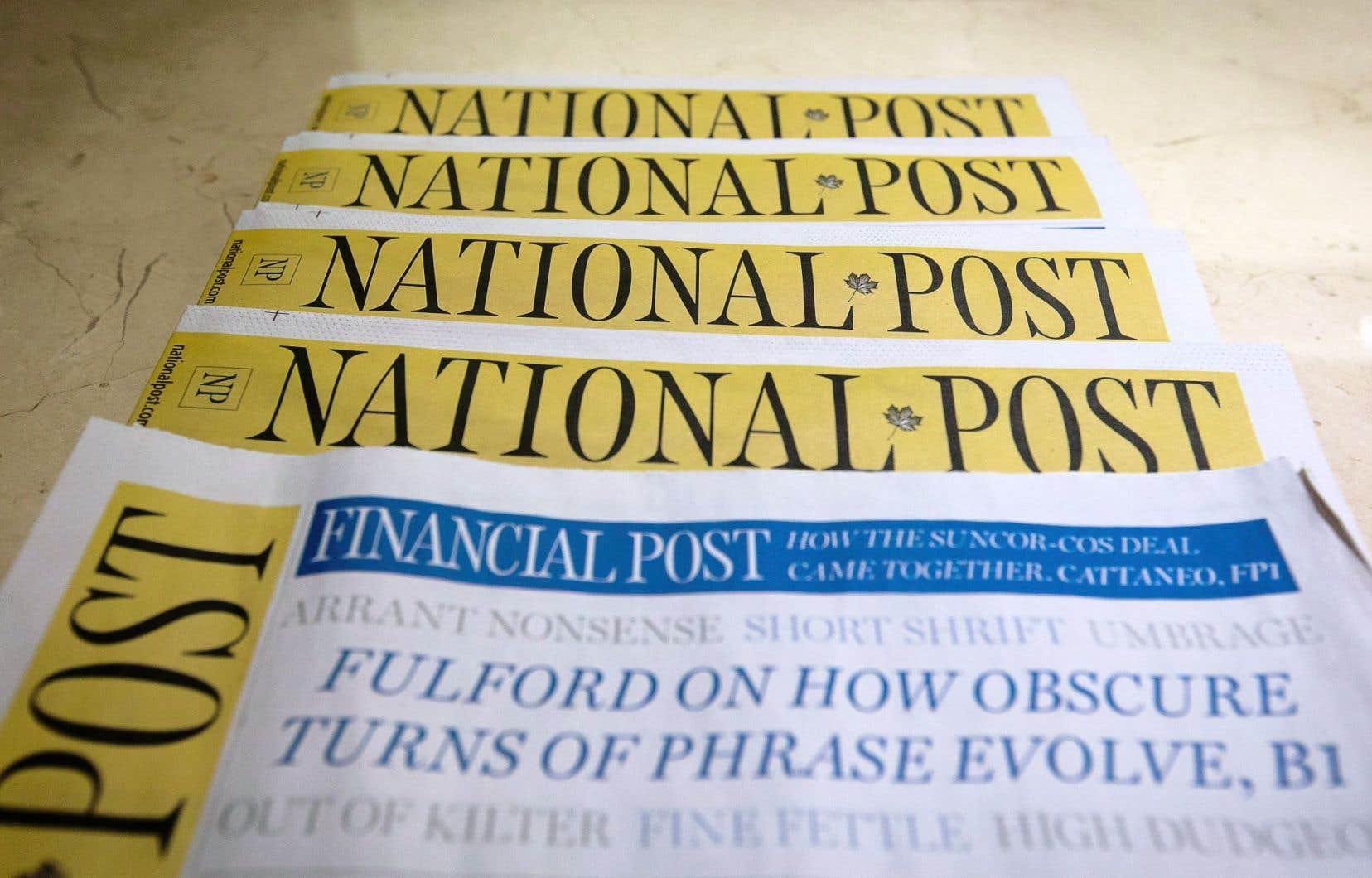 Le «National Post» est la propriété de l'éditeur Postmedia Network Canada.