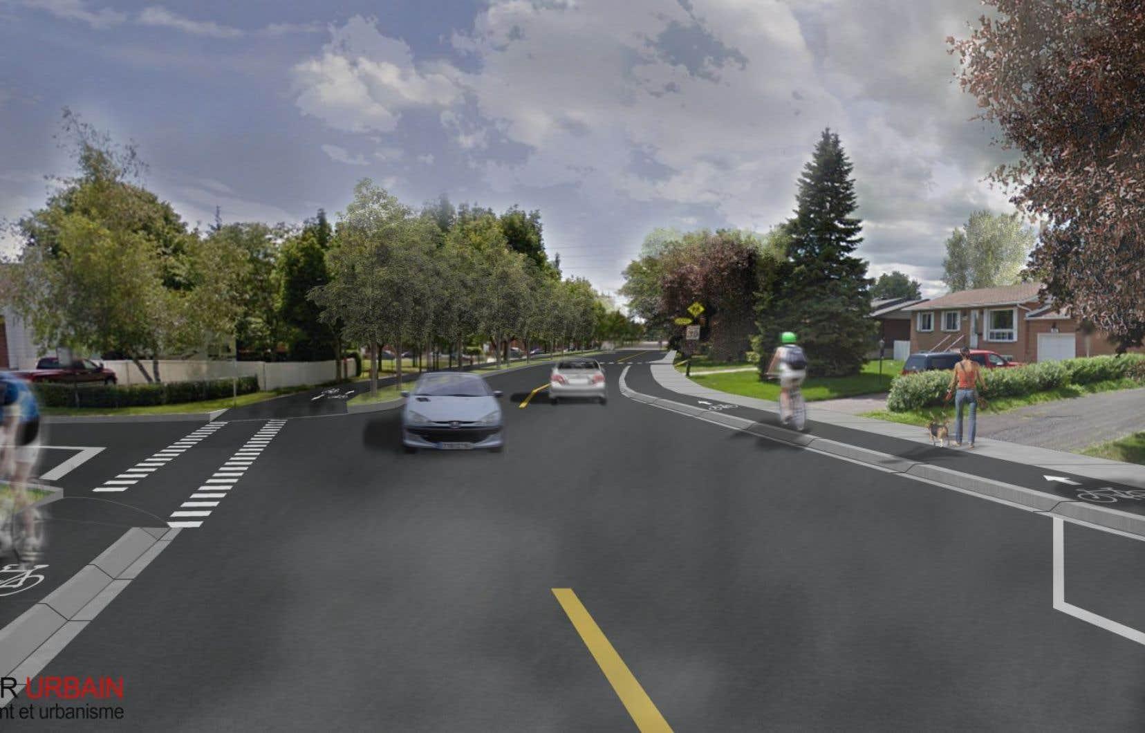 La rue Borduas sera réaménagée sur une distance de 795 mètres.