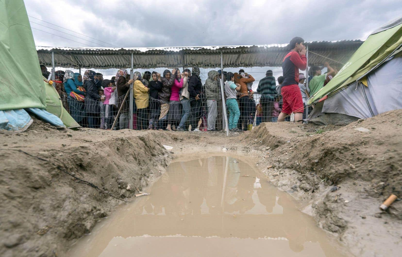 Des migrants font la queue ces jours-ci pour recevoir de la nourriture dans un camp improvisé à la frontière gréco-macédonienne.