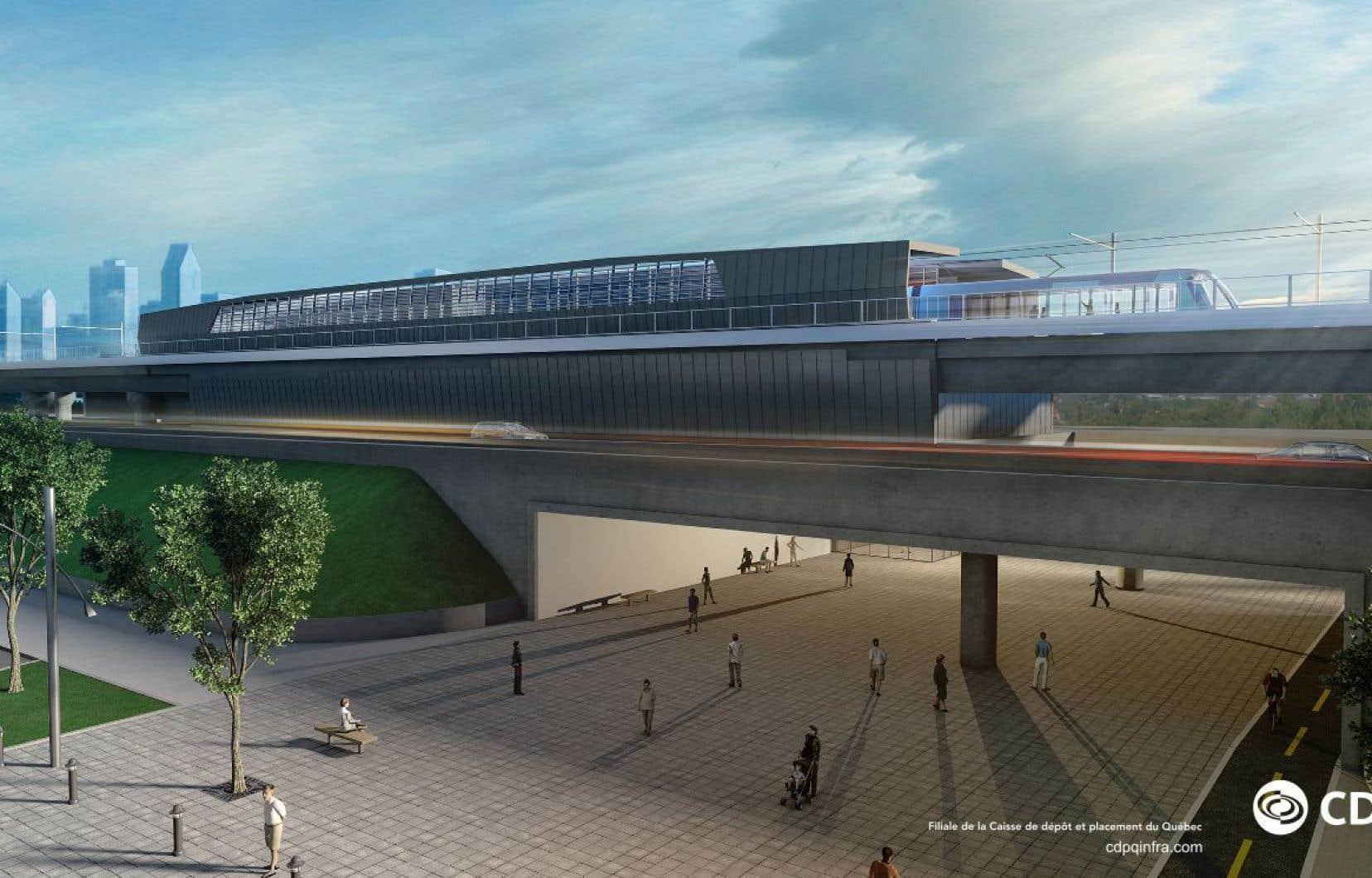Représentation artistique d'une station type du système léger sur rail