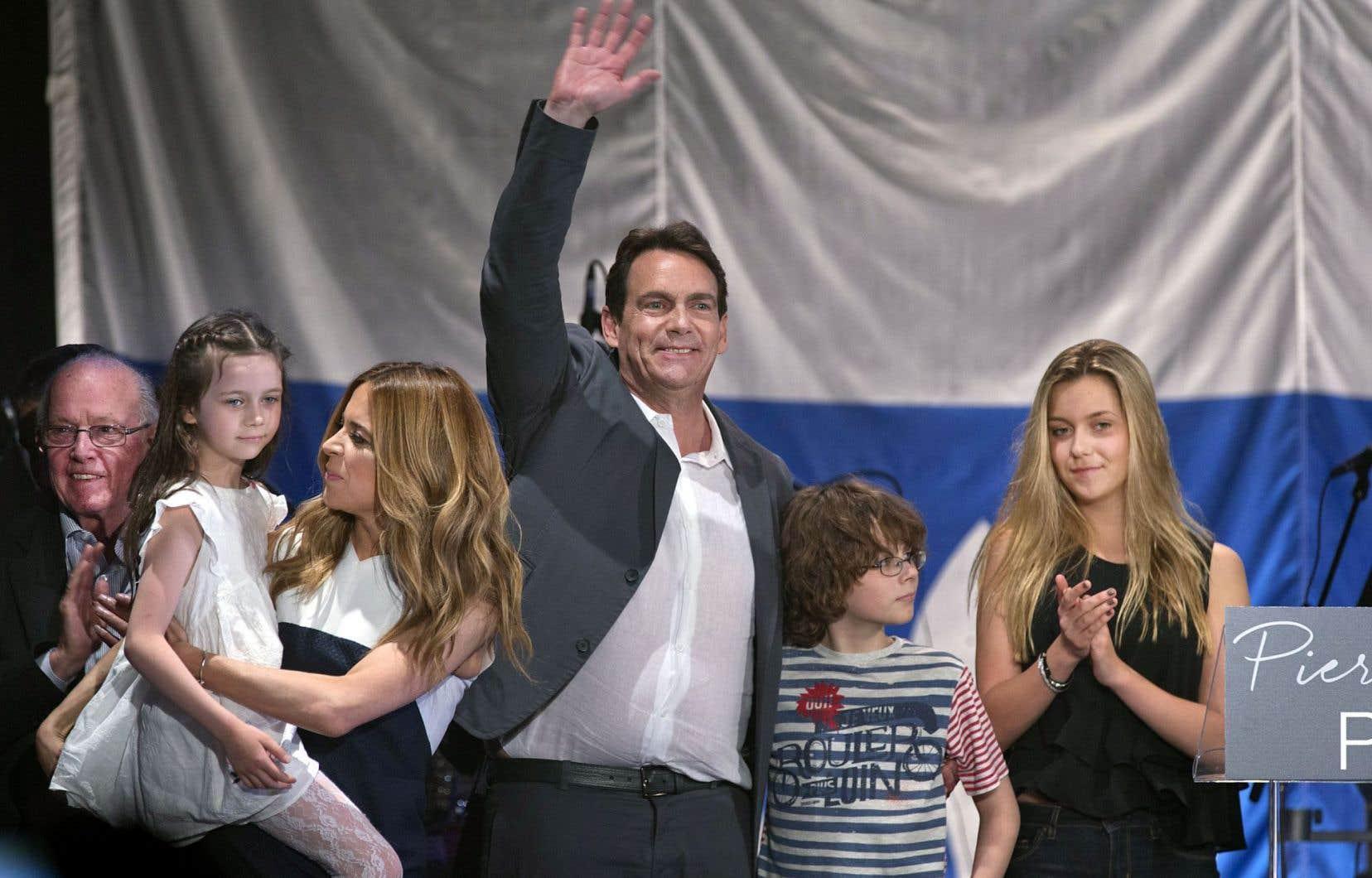 Les enfants de Pierre Karl Péladeau sont montés sur scène lors d'un événement organisé lors de la dernière course à la chefferie du PQ.