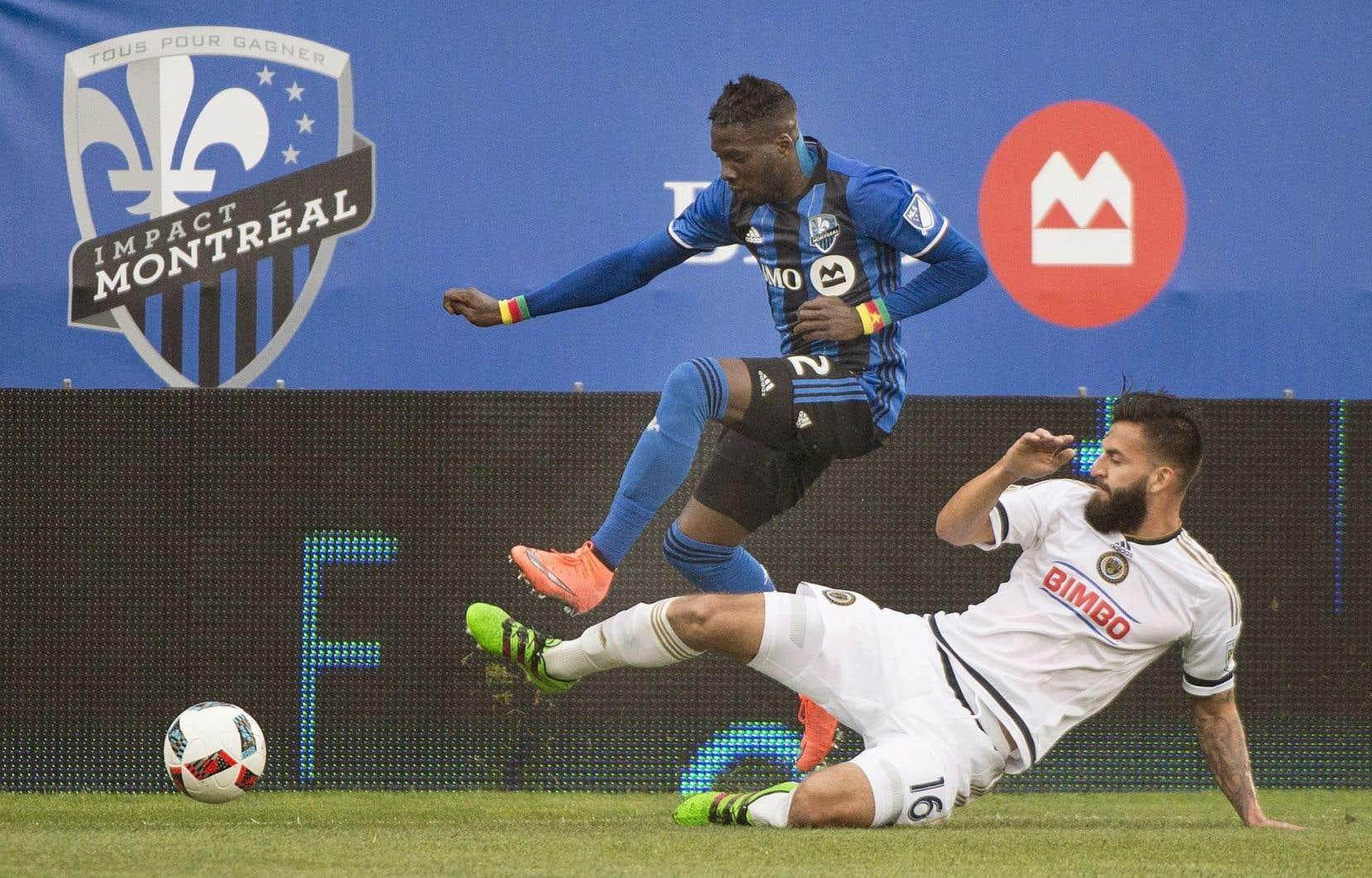 Ambroise Oyongo de l'Impact de Montréal lors du dernier affrontement de l'équipe, contre l'équipe de Philadelphie
