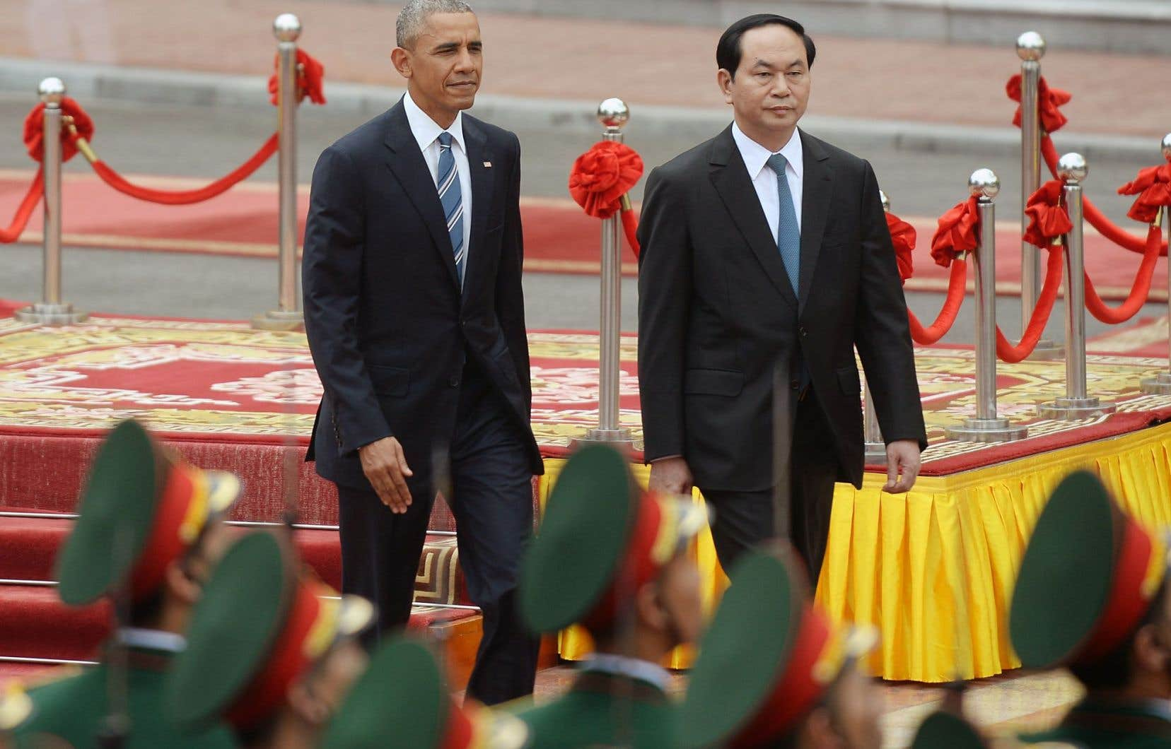 Le président américain, Barack Obama, et son homologue vietnamien, Tran Dai Quang