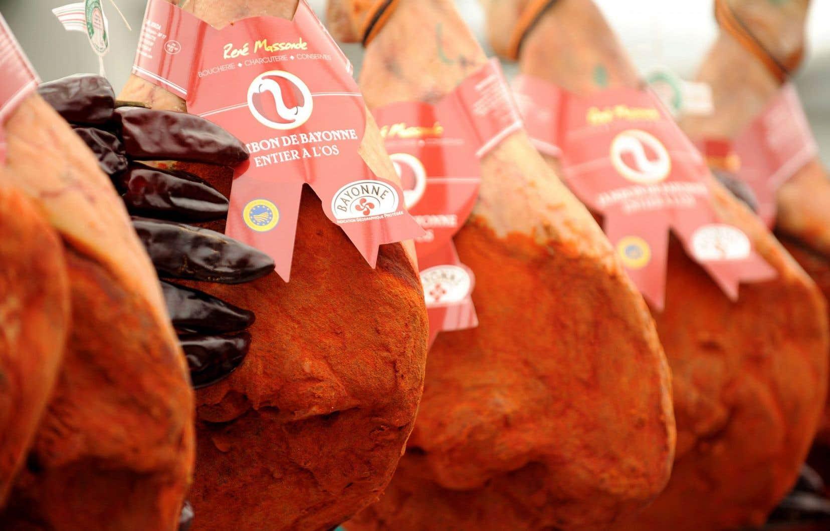 Queleques variétés de jambon, à l'ouverture de la Foire au jambon, à Bayonne, en mars dernier