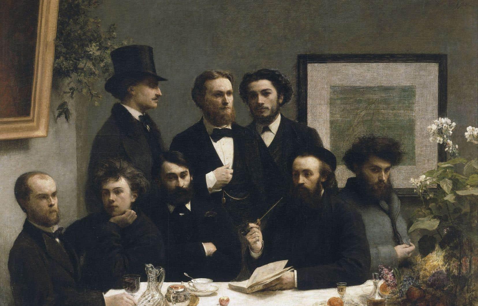 «Un coin de table» d'Henri Fantin-Latour, 1872. À gauche, on reconnaît Verlaine et Rimbaud.