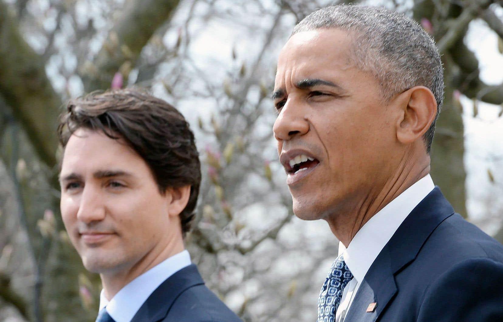 Justin Trudeau et Barack Obama, ci-dessus à Washington en mars, devraient discuter, entre autres sujets, de bois d'œuvre.