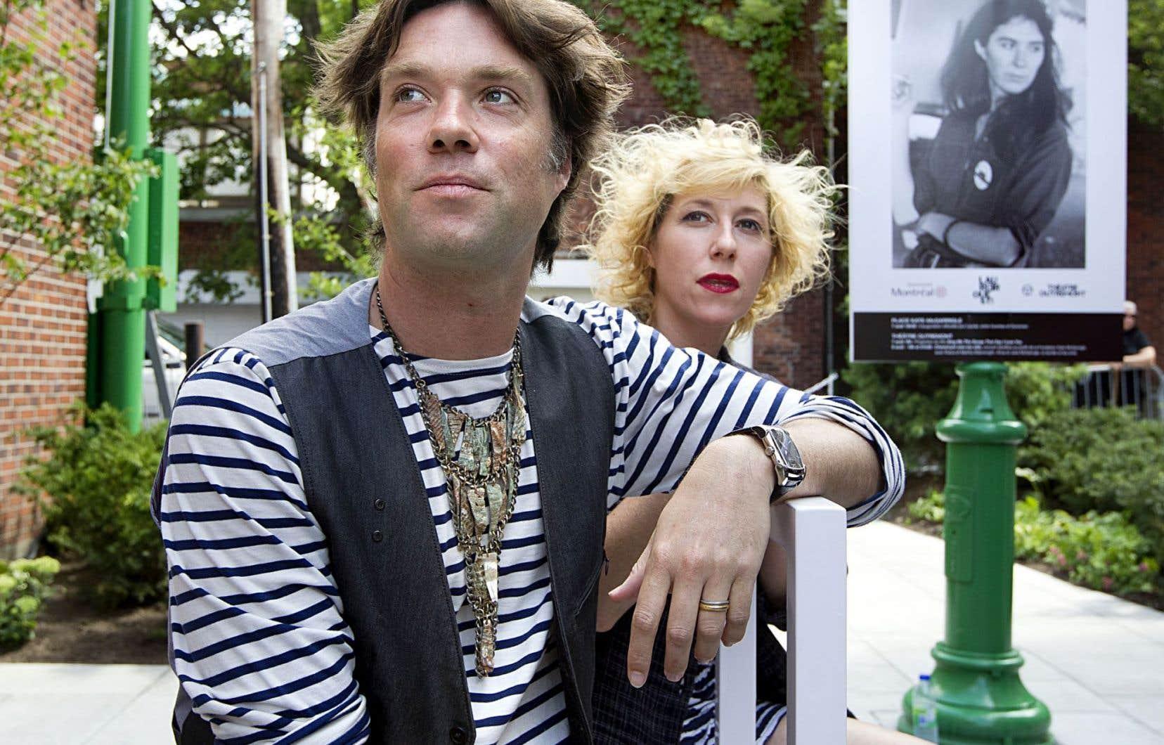 Rufus et Martha Wainwright en 2013 lors de l'inauguration de la place Kate-McGarrigle, à Outremont