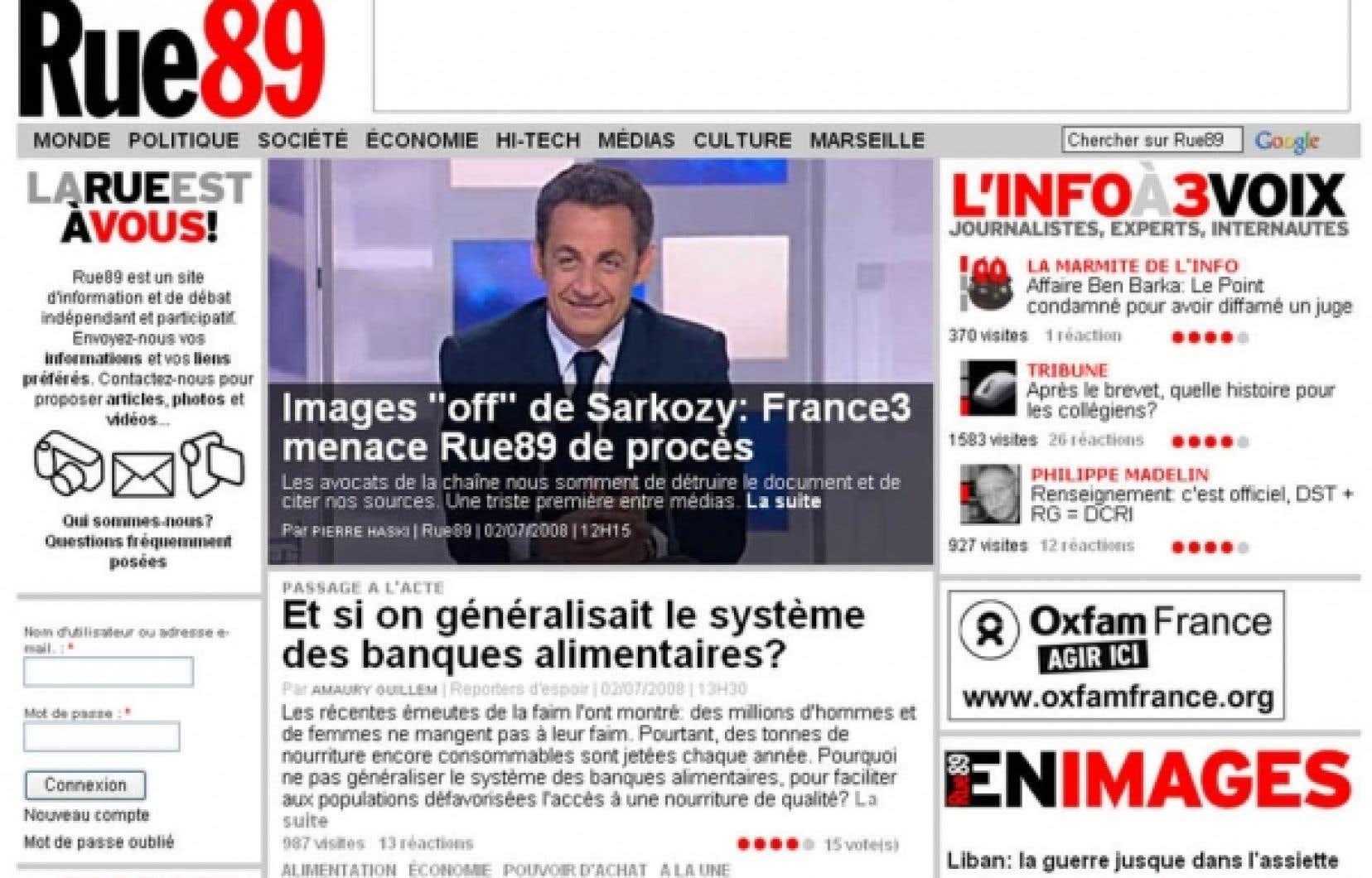 Rue89 s'est attiré un procès en 2008 en proposant l'accès en ligne à une vidéo de Nicolas Sarkozy s'exprimant sur le plateau de France 3 avant son interview en direct.