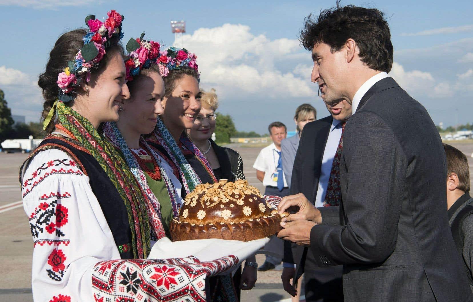 Le premier ministre Justin Trudeau, à son arrivée à Kiev