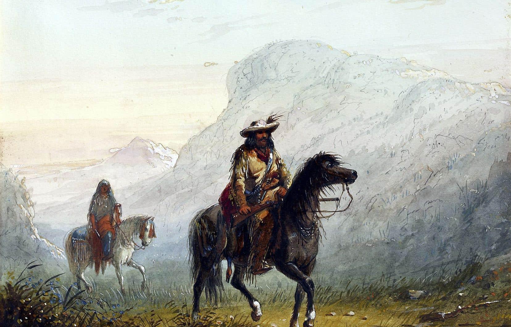 """L'imaginaire du coureur des bois a inspiré les artistes. Ci-dessus, une aquarelle d'Alfred Jacob Miller intitulée «""""Bourgeois W""""---r, and His Squaw», peinte aux États-Unis entre1858 et1860."""