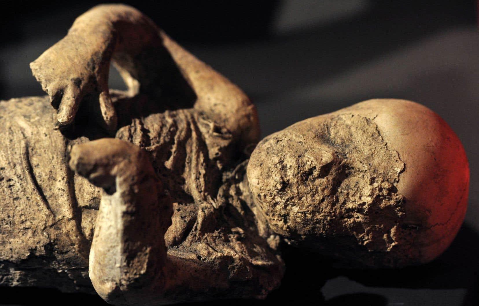 Moulage d'un enfant tué par l'éruption du Vésuve et exposé au British Museum en 2013. Le moulage d'un homme recroquevillé a été brisé par un visiteur au MBAM plus tôt cette année.