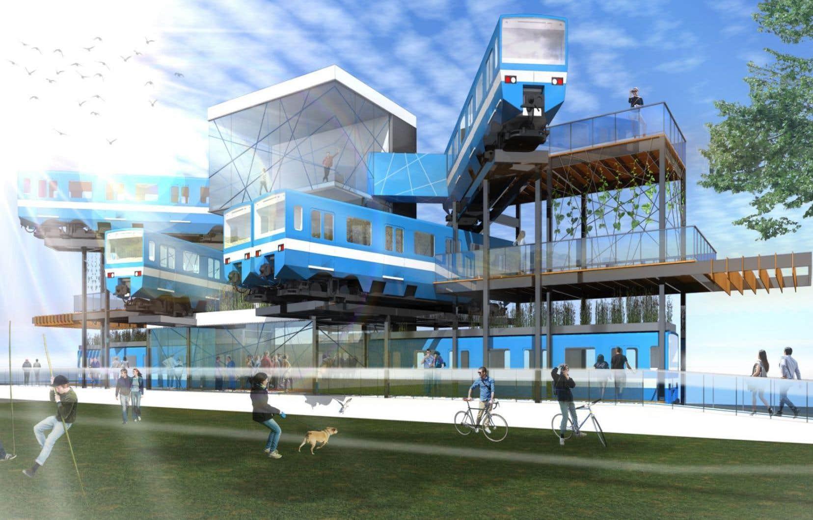Les voitures bleues du métro seront fixées sur des structures d'acier et l'immeuble à l'allure éclatée comportera des espaces terrasses.