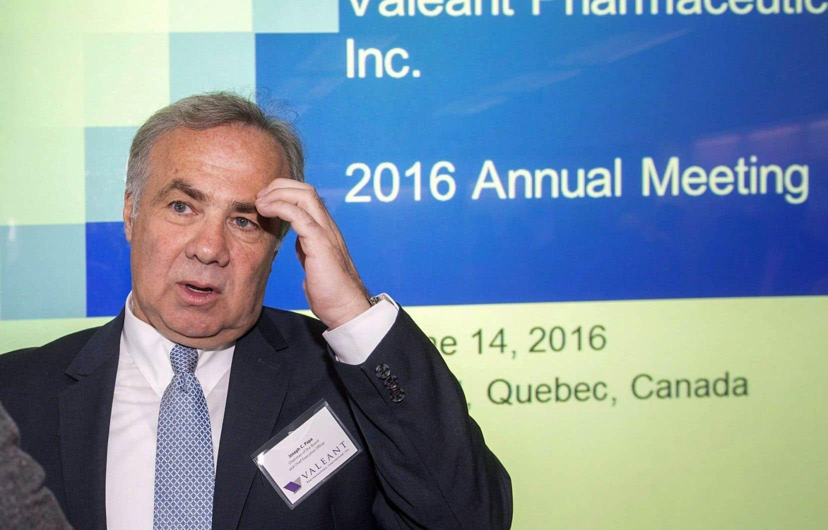 Le 7 juin 2016, Joseph Papa dévoile les résultats du premier trimestre de Valeant, qui abaisse ses prévisions pour l'exercice en cours en plus de rater la cible des analystes.