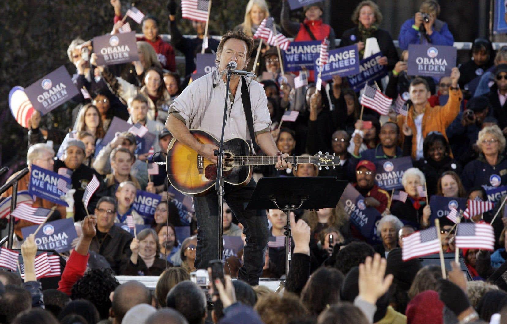 Bruce Springsteen lors d'un rassemblement pro-Obama en 2008. Le Boss est souvent intervenu pour empêcher les républicains d'utiliser sa chanson «Born in the U.S.A.».