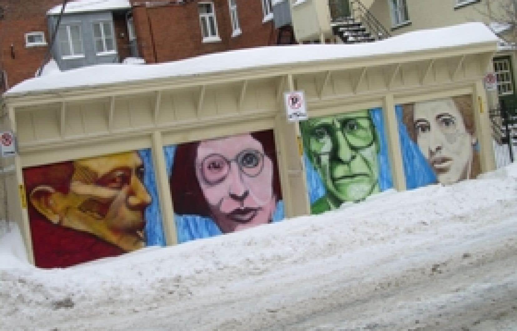 Les philosophes Albert Camus, Simone Weil, John Rawls et Hannah Arendt, vus par l'artiste et ancien graffiteur Reuben Peter-Finley.