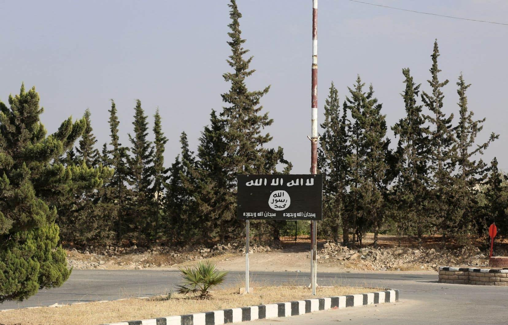 Un drapeau du groupe EI sur la route de Minbej