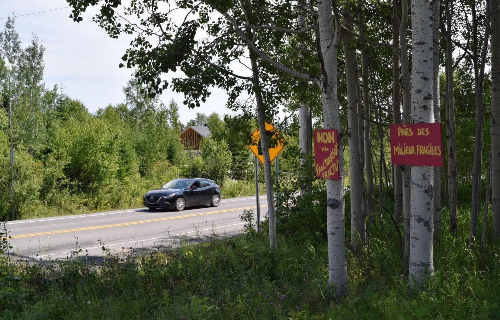 Dans la région de Gaspé, certains opposants à l'exploitation pétrolière affichent leur rejet des projets de Pétrolia à l'entrée de leur terrain.