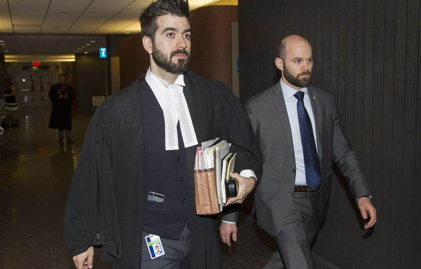 Le procureur de la couronne Dennis Galiatsatos lors du procès de Richard Henry Bain lundi au palais de justice de Montréal