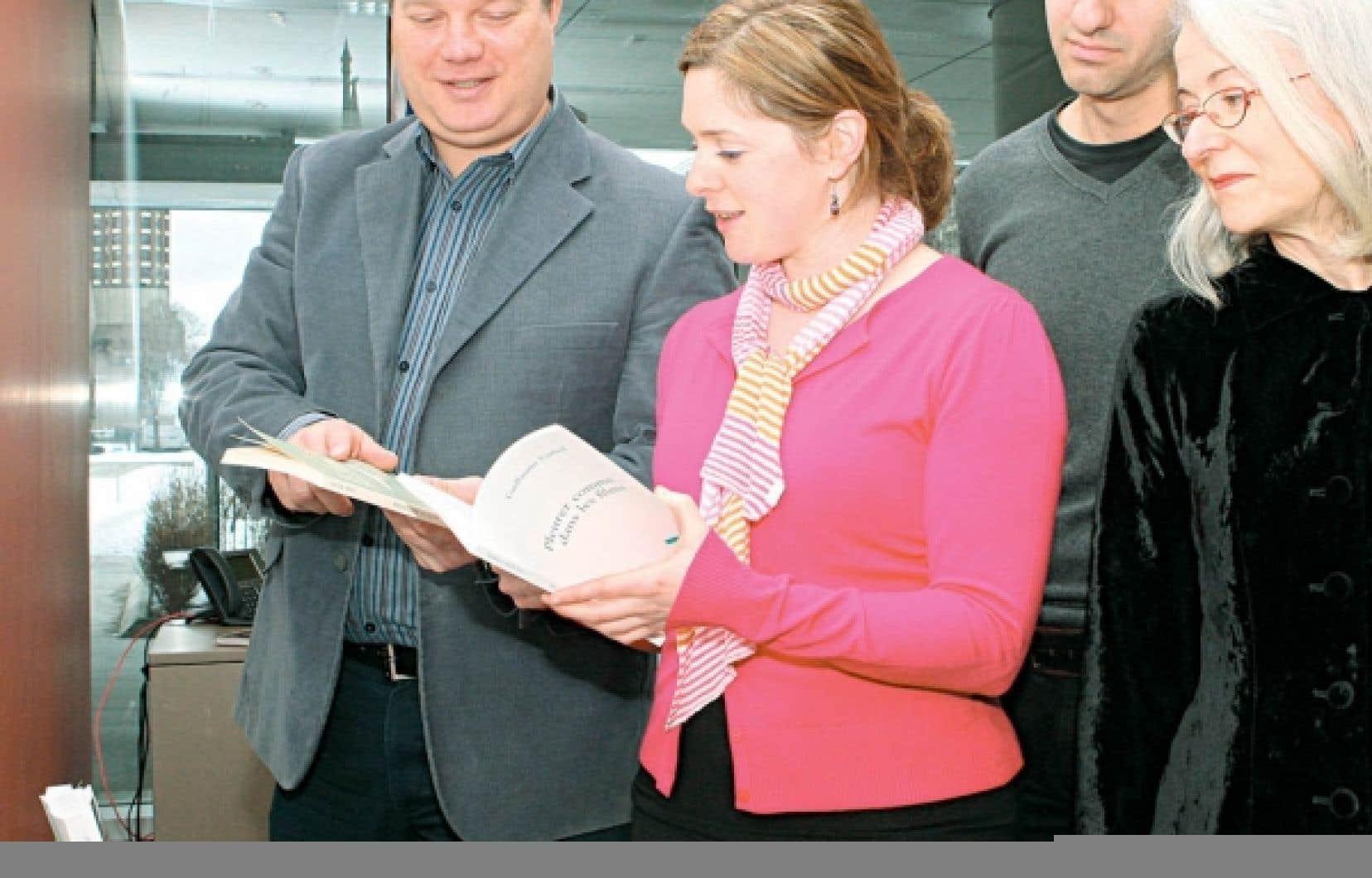 Martin Gagnon, président du comité de sélection, Catherine Trudeau, porte-parole de l'événement, Nicolas Chalifour et Martine Desjardins étaient présents lors du dévoilement, hier.