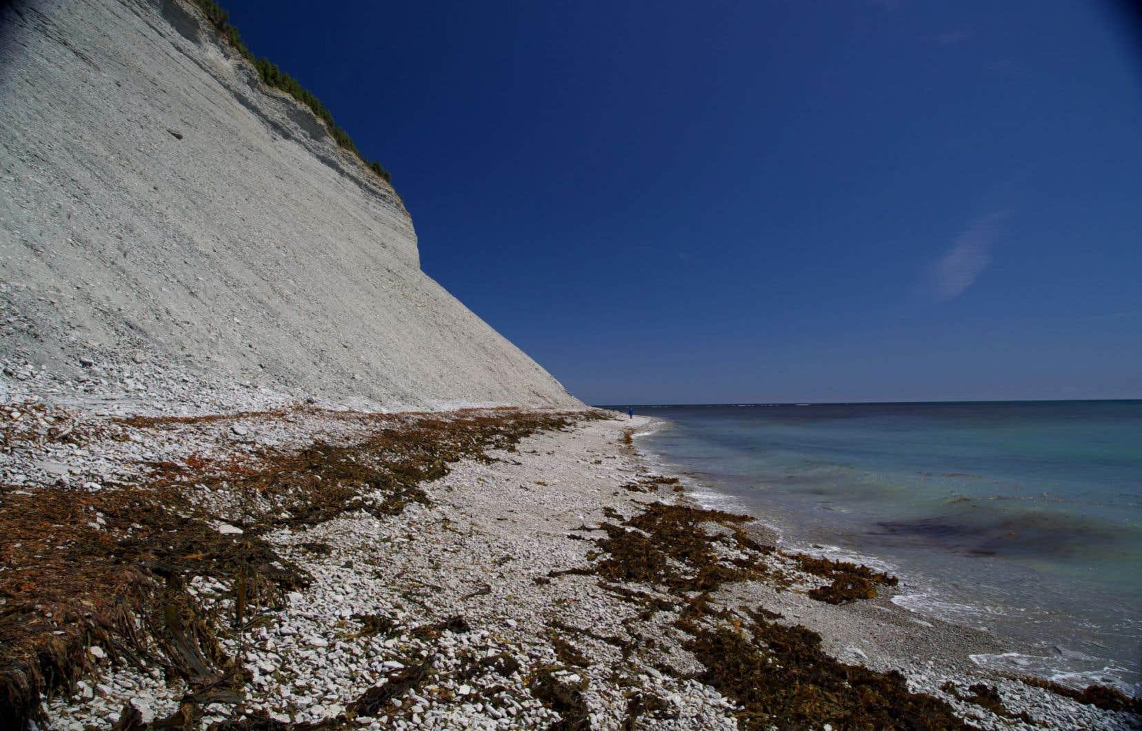 «?Le sentier côtier d'Anticosti que j'imagine ceinturerait de très près les 530 kilomètres de rive de cette île afin que le marcheur puisse y contempler les flots puissants du golfe et la vie marine observable de la côte», écrit André Clouâtre.